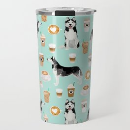 Husky coffee siberian husky owners gifts for dog person dog breed portraits by pet friendly Travel Mug