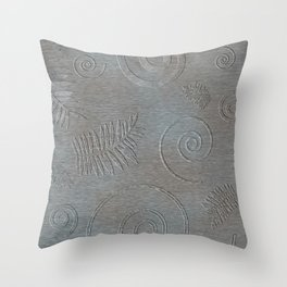 Graphic Grey Leaf and Spiral Shell Fossil Shapes Throw Pillow