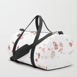 Metallic Rose Gold Terrazzo Duffle Bag