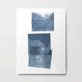 Dusky Blue Squares Minimalist Abstract Painting Metal Print