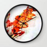 artsy Wall Clocks featuring gladioli Artsy by Artsy Arts By Rosanna.