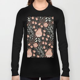 Highly Detailed Floral Pattern with Tulips Long Sleeve T-shirt
