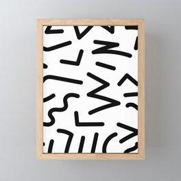 Memphis Minimal Design - Black and White Framed Mini Art Print