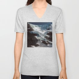 Jaw-dropping Canadian Glacier Cascading Down Mountainside Unisex V-Neck