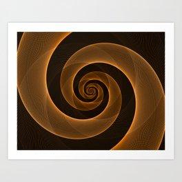 Bright Neon Orange Infinity Mesh Spiral Matrix Art Print