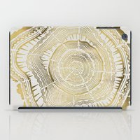 colorful iPad Cases featuring Gold Tree Rings by Cat Coquillette