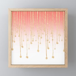 Color block coral faux gold glitter waterdrops ombre Framed Mini Art Print