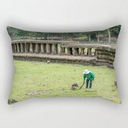 Trimming Grass With a Machete, Angkor Thom, Siem Reap, Cambodia Rectangular Pillow