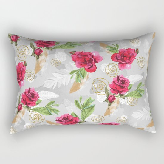 Pattern flowers & feathers Rectangular Pillow