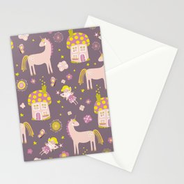 Fairytale Forest Fairy Toadstool House Unicorn Stationery Cards