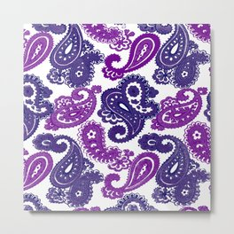 Fun Purple Paisley Metal Print