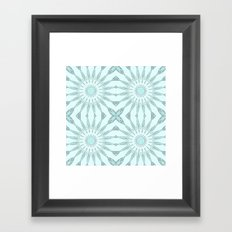 Aqua Pinwheel Flowers Framed Art Print