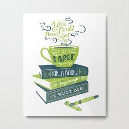 Tea & Books (C.S Lewis) - green/blue Metal Print