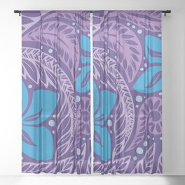 Circular Polynesian Hawaiian Blue Purple Floral Tattoo Sheer Curtain