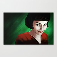 amelie Canvas Prints featuring Amelie by Jon Cain
