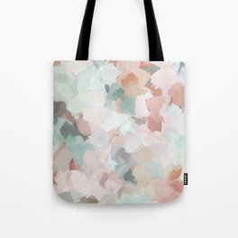 Blush Pink Mint Green Blue Coral Peach Abstract Flower Wall Art Springtime Painting Modern Wall Art Tote Bag