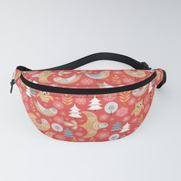 Fairy forest, deer, owls, foxes. Decorative pattern in Scandinavian style on a red background. Folk Fanny Pack