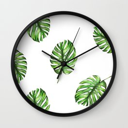 Monstera green leaves Wall Clock