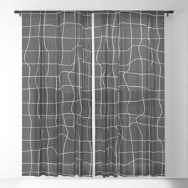 Warp Grid: Midnight Black Edition Sheer Curtain