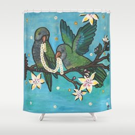 Pair of Parrots Color Correct Original Version Shower Curtain