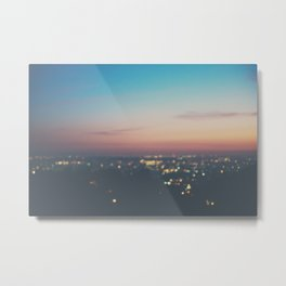 Looking down on the lights of Los Angeles as night. Metal Print