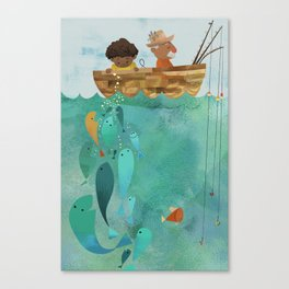Fishing with Papa Canvas Print
