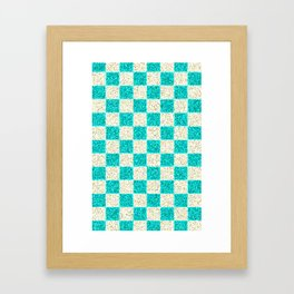 CHECKERED CYAN PATTERN - For IPhone - Framed Art Print