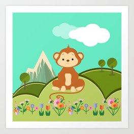 Monkey , nursery decor Art Print