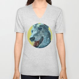 Dilly the Greyhound Portrait Unisex V-Neck