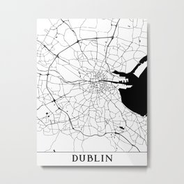 Dublin Minimal Map Metal Print