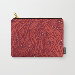 Polynesian Tribal Tattoo Red Floral Design Carry-All Pouch