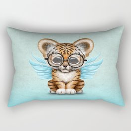Tiger Cub with Fairy Wings Wearing Glasses on Blue Rectangular Pillow