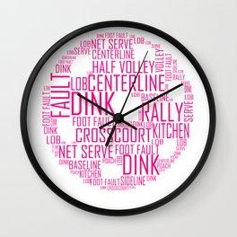 Pickleball Ball design Art Words design Gift Pink Wall Clock