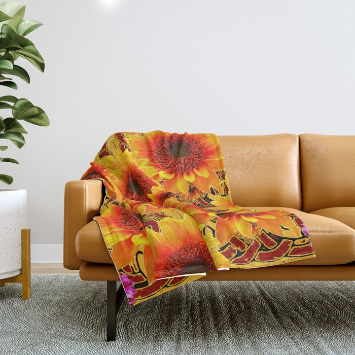 Golden Sunflowers on Sunflowers Floral Patterns Throw Blanket