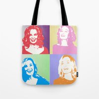 jessica lange Tote Bags featuring Jessica Lange - Her smile is everything by BeeJL