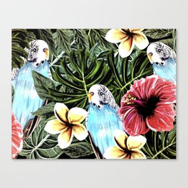 Tropical bird with floral texture Canvas Print