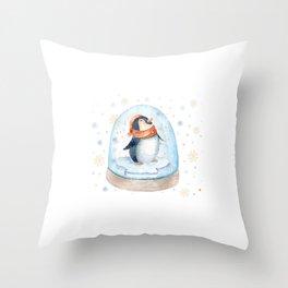 Penguin Snow globe Throw Pillow