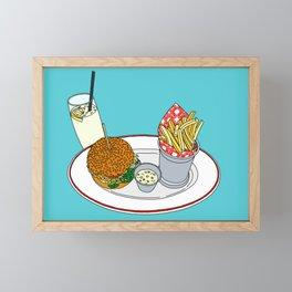 Burger, Chips and Lemonade Framed Mini Art Print