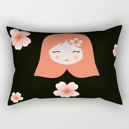 Russian Matryoshka Doll Girl Deconstructed with Flowers Rectangular Pillow