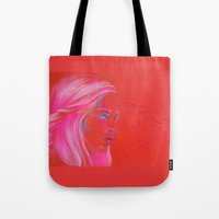 mother of dragons Tote Bags featuring Mother of Dragons by Erin Garey