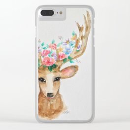 Deer with Flower Crown Clear iPhone Case