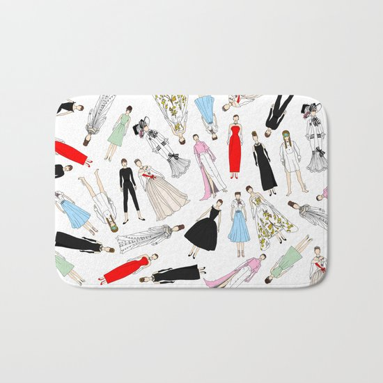 Audrey Hepburn Fashion (Scattered) Bath Mat