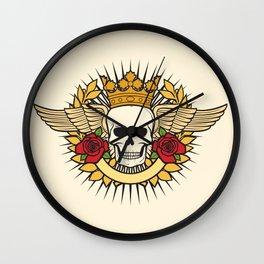 skull symbol tattoo design (crown, laurel wreath, wings, roses and banner) Wall Clock