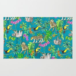 Rainforest Friends - watercolor animals on textured teal Rug