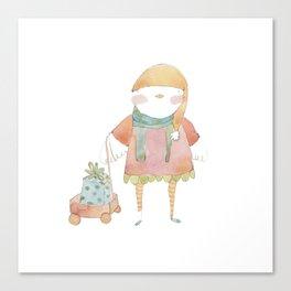 Bird Elf with a Gift Canvas Print
