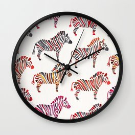 Zebras – Rainbow Palette Wall Clock