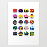 pokeball Art Prints featuring Pokeball by WSS3 The Paint Project