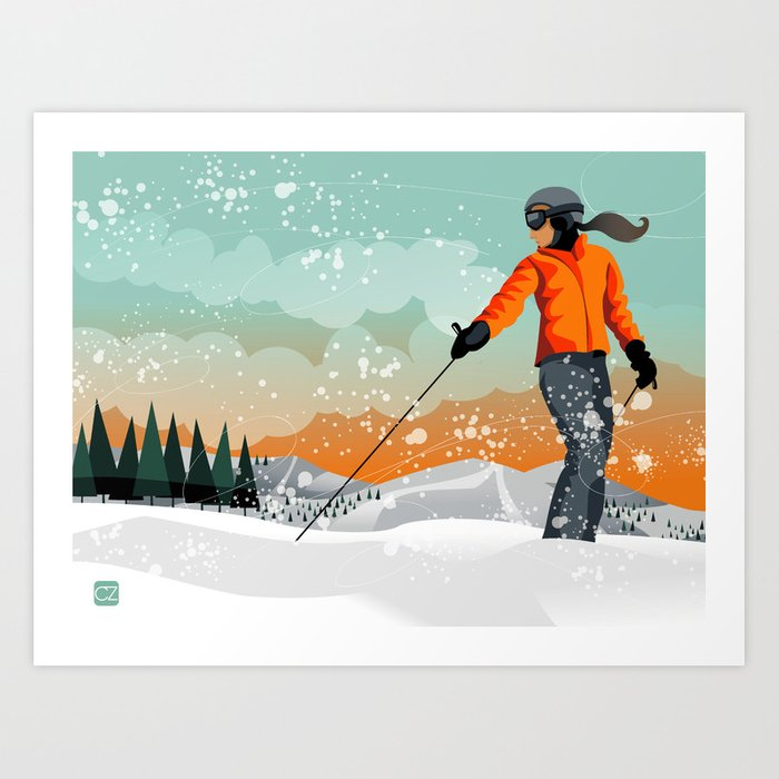 Skier Looking Art Print