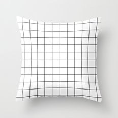 White Black Grid Minimalist Throw Pillow