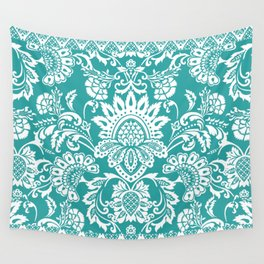 Damask in emerald Wall Tapestry
